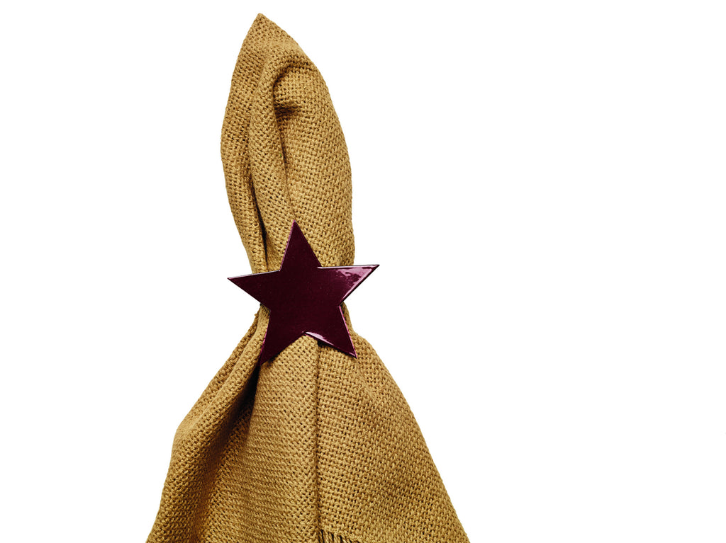 Wine - Burgundy Star Napkin Ring for Place Settings Wedding Receptions Dinner Parties Fall Paper Burgundy