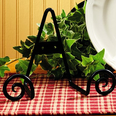 Black Iron Scroll Plate Holder for Tabletop or Wall Mount with Side Shaped Scrolling