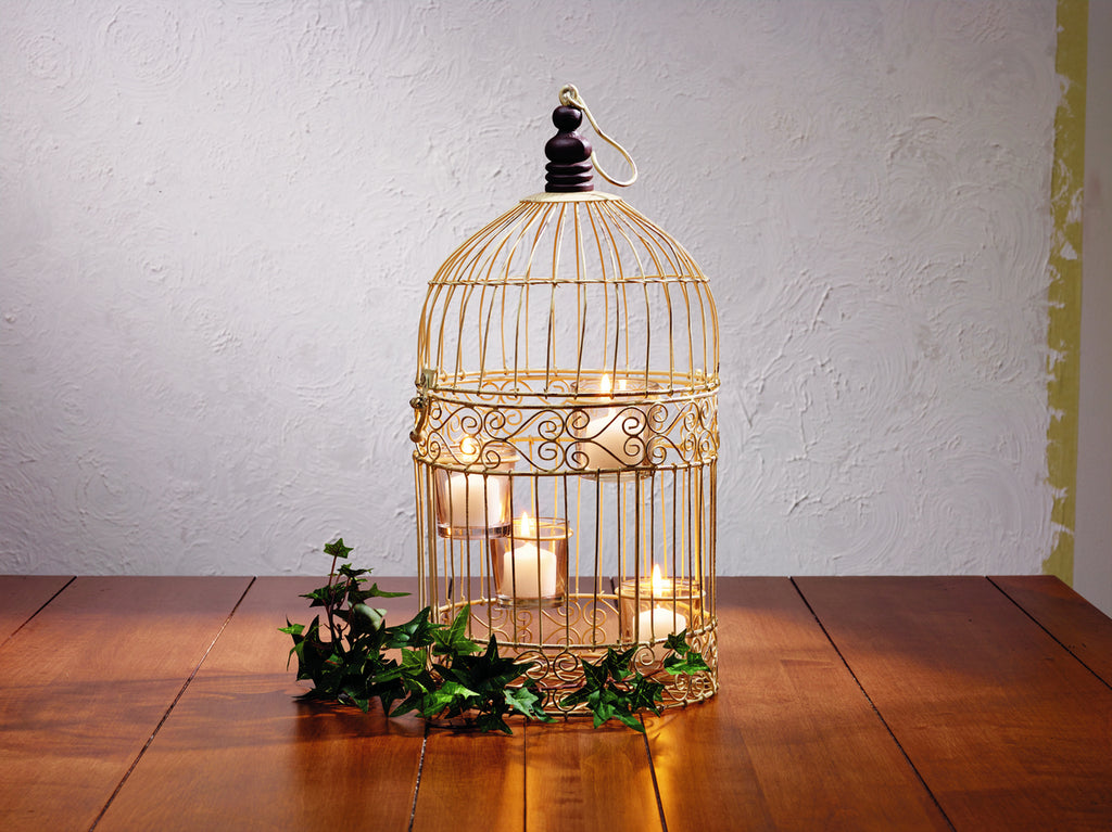Cream Wire Birdcage Tealight Holder