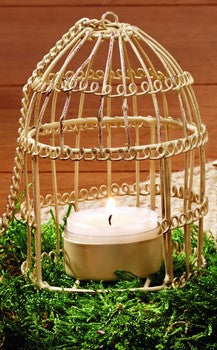 Cream Hanging Birdcage Wire Votive Candle Holder With Handle - Primitive Vintage Tealight  Tea Light