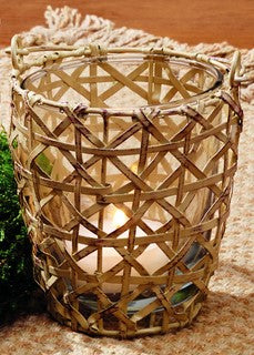 Cream Basket Weave Wire Votive Candle Holder With Handle - Primitive Vintage Tealight  Tea Light