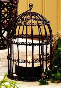 Antique Primitive Vintage Iron Brown Hanging Birdcage Wire Votive Candle Holder With Handle - Primitive Vintage Tealight  Tea Light