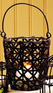 Antique Primitive Vintage Iron Brown Basket Weave Wire Votive Candle Holder With Handle - Primitive Vintage Tealight  Tea Light