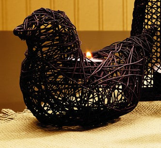 Antique Brown Wire Hen Tealight Holder