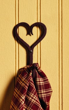 Antique Brown Heart Towel Hook