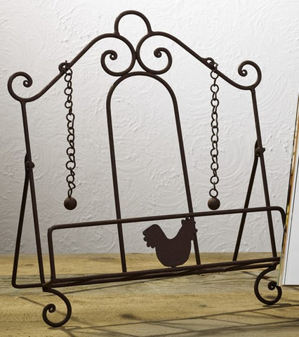 Antique Primitive Vintage Iron Brown Country Rooster Metal Cookbook Stand
