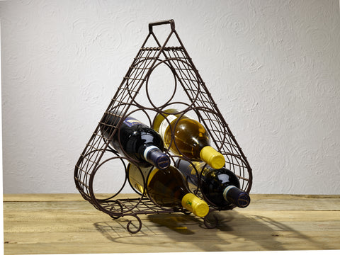 Six Bottle Metal Wire Triangle Wine - Burgundy Bottle Holder Rack