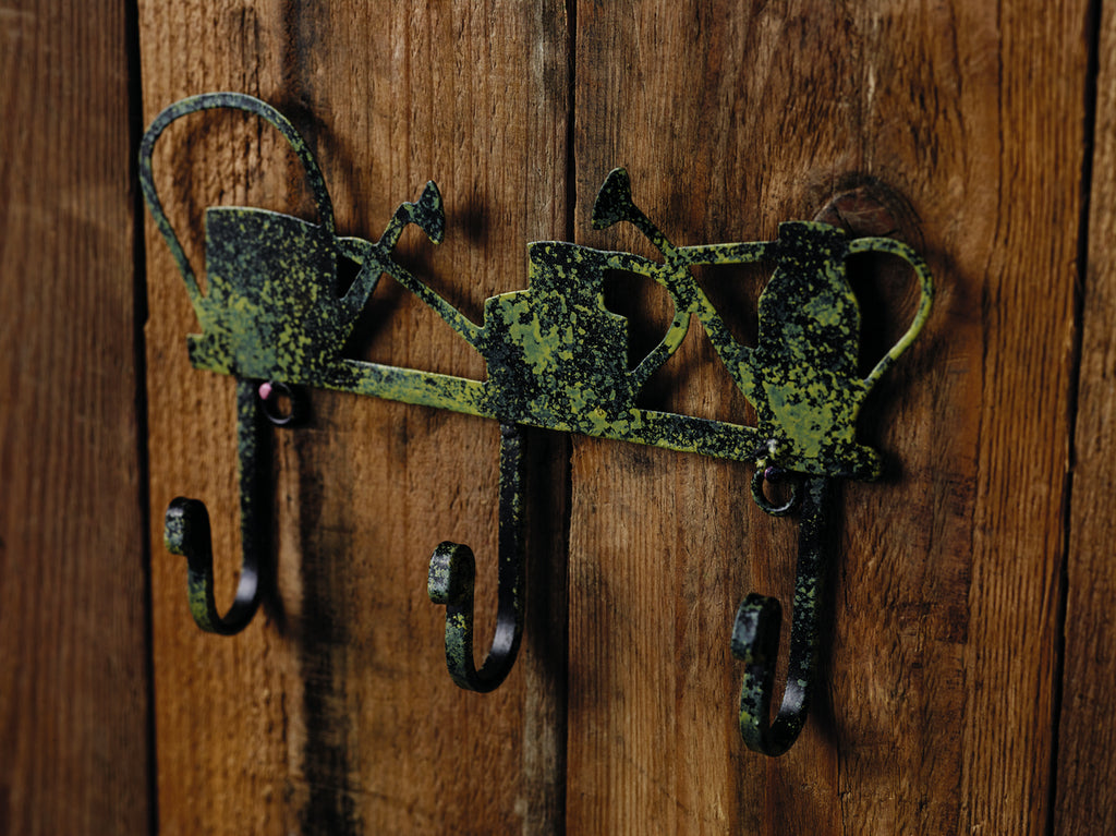 Antique Green Watering Can Wall Hook Rack