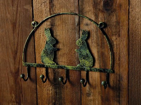 Antique Green Rabbit Hook Rack