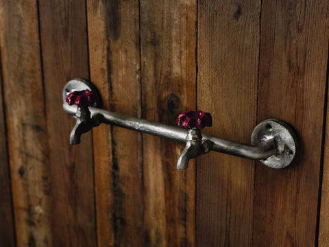 Red Faucet Double Wall Hook Rack