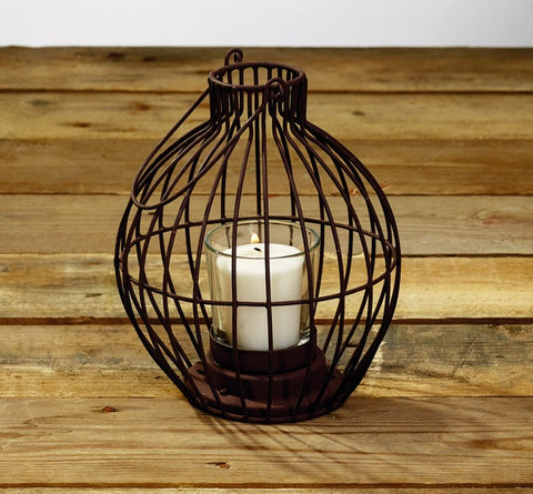 Antique Primitive Vintage Rust Brown Iron Brown Vintage Bulb Votive Candle Holder With Handle - Primitive Vintage Tealight  Tea Light