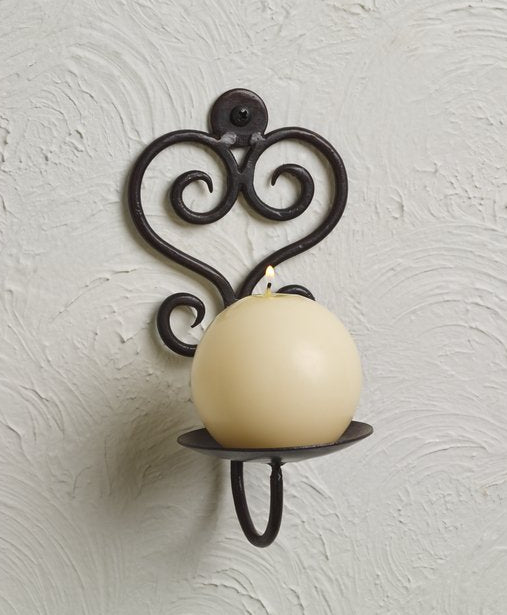 Iron Scroll Pillar and Votive Candle Wall Sconce