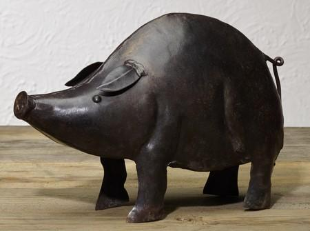 Small Iron Pig Figurine  - Home Accent Shelf or Tabletop Decor