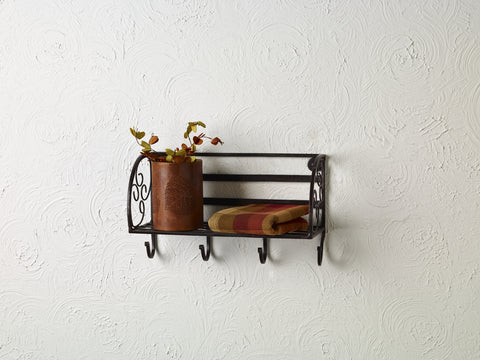 Floating Iron Shelf With Coat Hooks