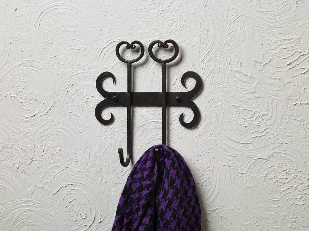 Iron Double Wall Hook With Hearts