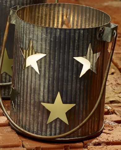 Medium Metal Primitive Star Cutout Pillar and Votive Candle Holder - Country Farmhouse Decor