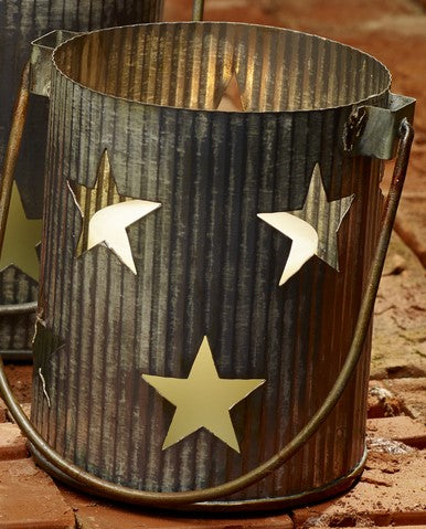 Large Metal Primitive Star Cutout Pillar and Votive Candle Holder - Country Farmhouse Decor