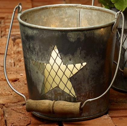 Large Wire Star Metal Bucket - for Florals, Candle, Shelf Decor, Kitchen Flowers