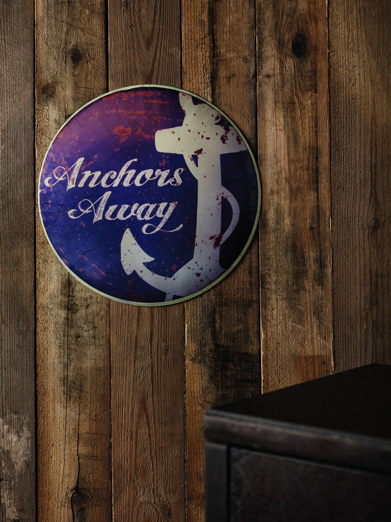 "Antiqued ""Anchors Away"" Wall Sign"