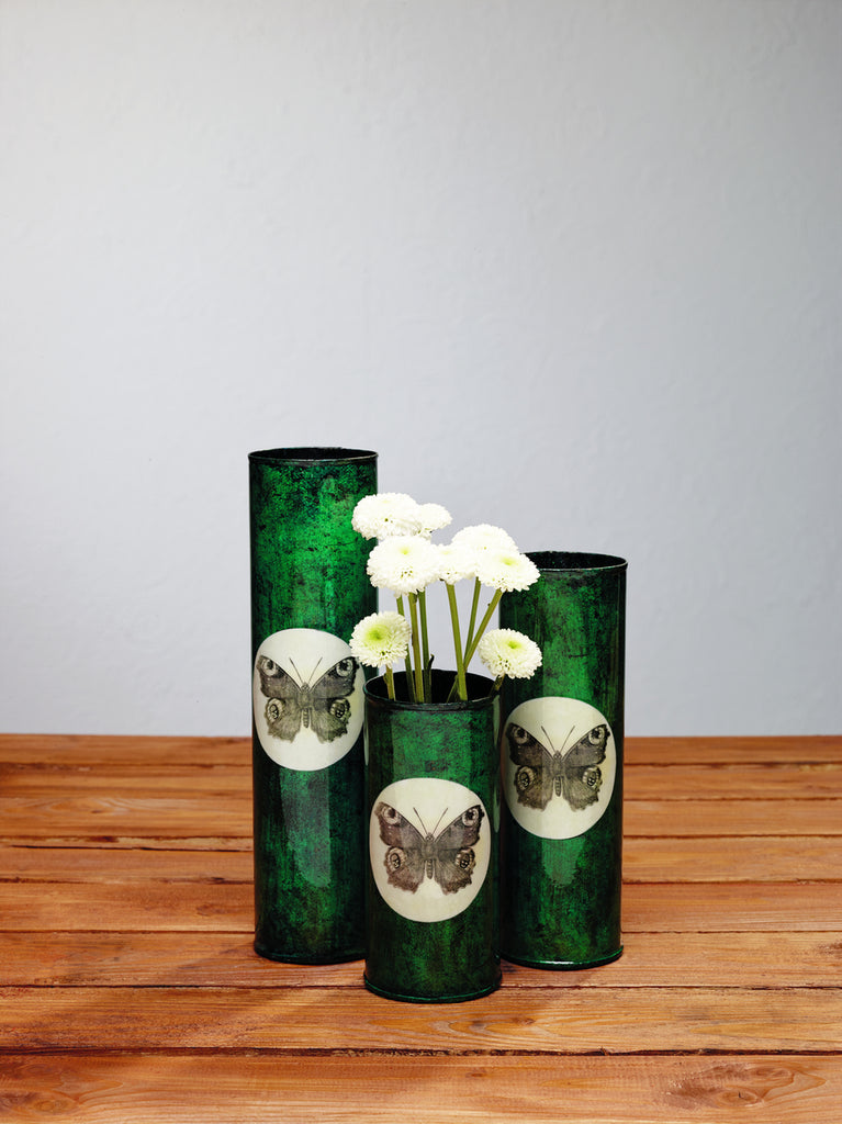 Peacock Green Butterfly Cylinder Vases - Set Of 3 - for Candles, Gift Basket, Food, Fruit, Wine - Burgundy, Flowers, Storage, Tabletop Decor