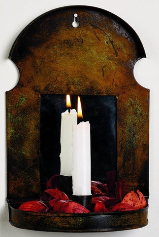 Antique Rust Taper Candle Sconce With Mirror