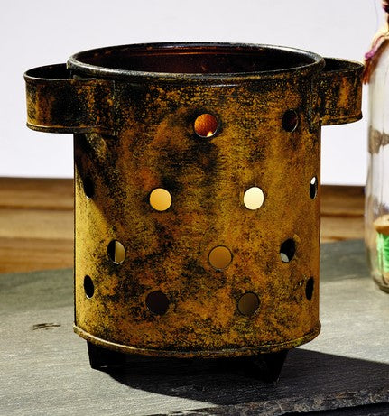 Antique Primitive Vintage Rust Brown Pillar and Votive Candle Candle Holder With Punched Holes