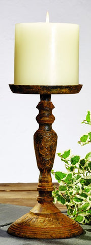 Small Antique Primitive Vintage Rust Brown Vintage Replica Pillar and Votive Candle Candlestick Candle Holder