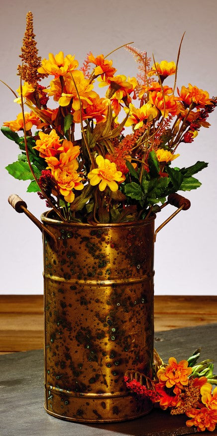 Antique Primitive Vintage Vintage Rust Brownic Brass Gold Color Metal Vase With Wood Handles for Flowers and Decor