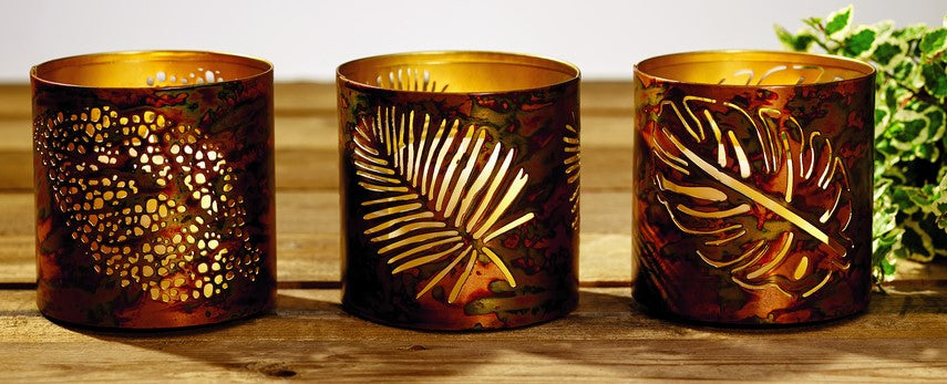 "Punched Tin Votive Candle and Tealight Holder, 3 Asst, Burnt Copper Finish: 4.5""H X 4""Dia"