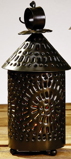 Small Black Cone Top Punched Tin Lantern Candle Holder