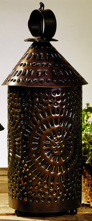 Large Black Cone Top Punched Tin Lantern Candle Holder