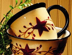 Berry Vine Ceramic Mug - Primitive Star Country Dishes Dinnerware