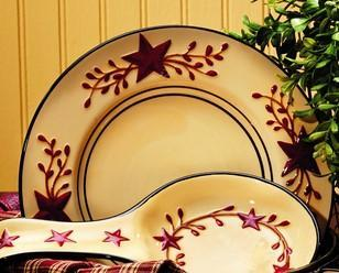 Berry Vine Ceramic Salad Plate - Primitive Star Country Dishes Dinnerware