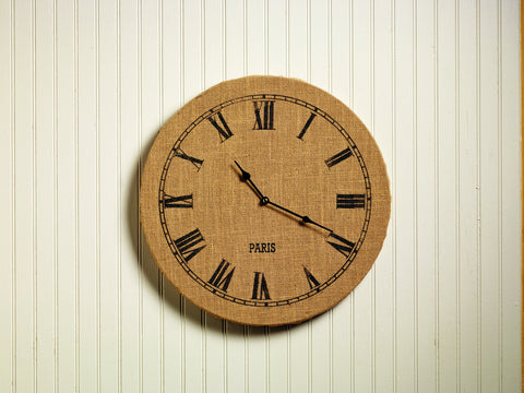 Primitive Country Soft Cotton Burlap Covered Round Wall Clock