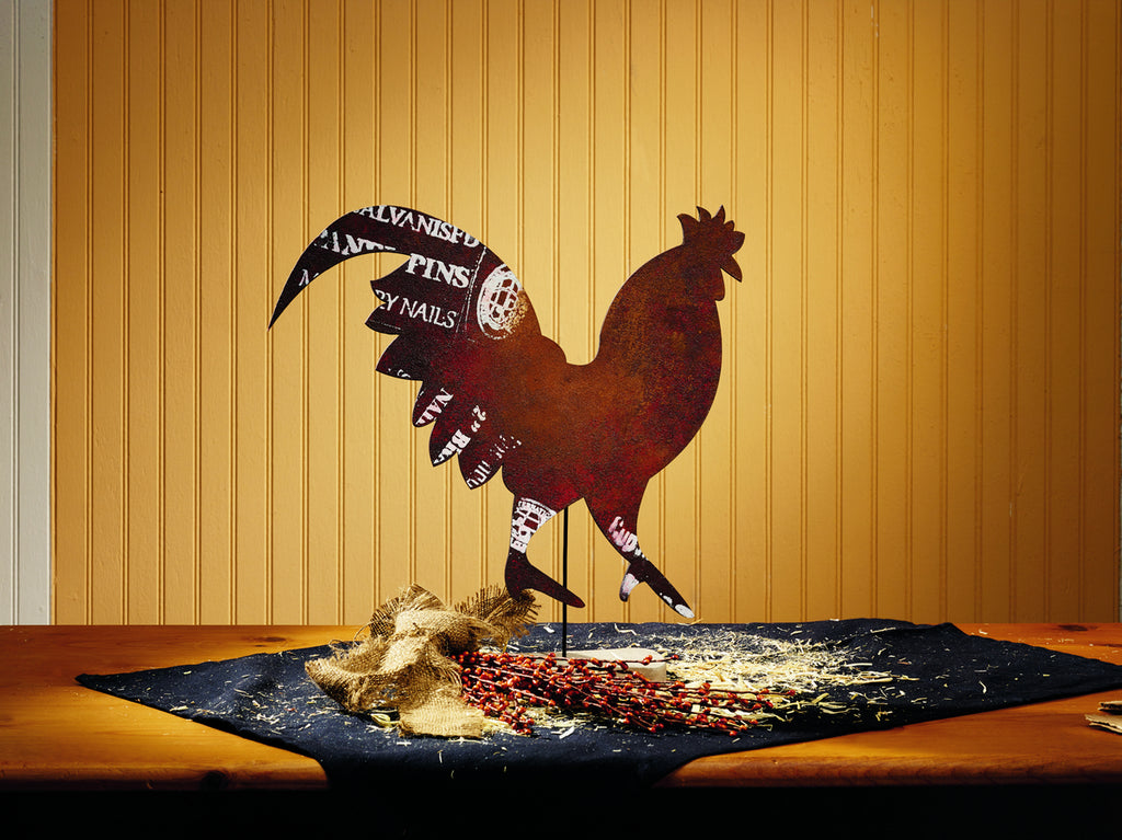 Rooster Cutout On Stand - Country Farmhouse Primitive Home Decor Accent for Tabletop or Shelf