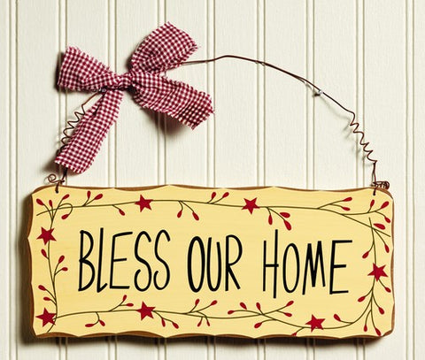 Primitive Country Bless Our Home Pip & Star Border Sign Wall and Door Decor