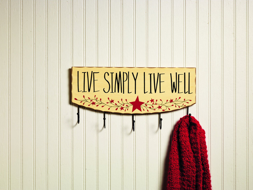 Live Simply Live Well Hook Board: 8.25H x 15.75W x 1.75D