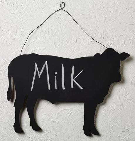 Wood Cow Chalkboard With Wire Hanger - for Doors, Walls, Kitchen, Refrigerator, Notes Memo