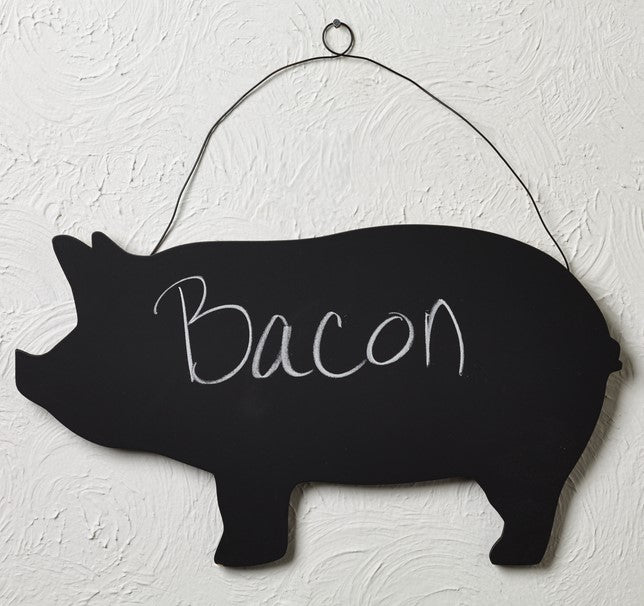 Wood Pig Chalkboard With Wire Hanger - for Doors, Walls, Kitchen, Refrigerator, Notes Memo