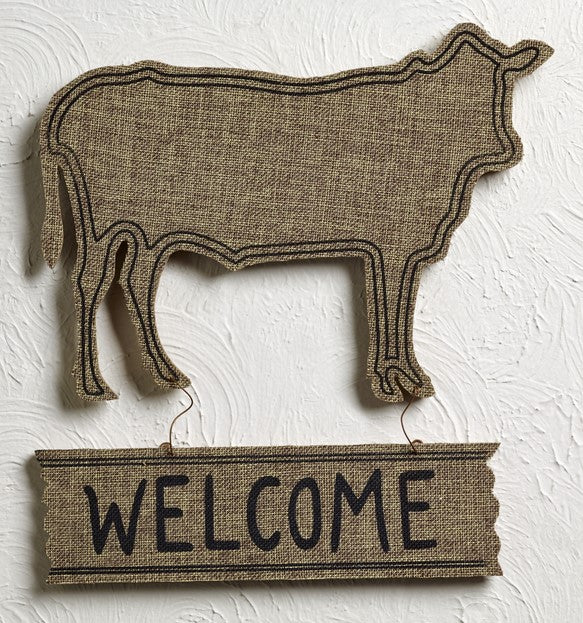 "Burlap-Wrapped Wood Cow ""Welcome"" Sign"