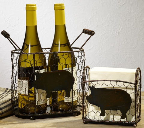 Metal Pig Chicken Wire Caddies - Set Of 2 - for Country Gift Basket, Food, Fruit, Wine - Burgundy, Flowers, Storage, Tabletop Decor