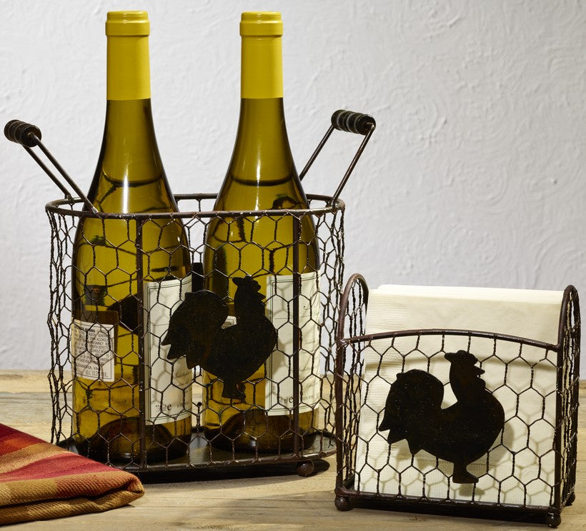 Metal Rooster Chicken Wire Caddies - Set Of 2 - for Country Gift Basket, Food, Fruit, Wine - Burgundy, Flowers, Storage, Tabletop Decor