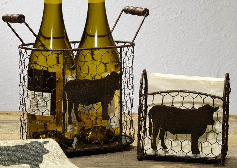 Metal Cow Chicken Wire Caddies - Set Of 2 - for Country Gift Basket, Food, Fruit, Wine - Burgundy, Flowers, Storage, Tabletop Decor