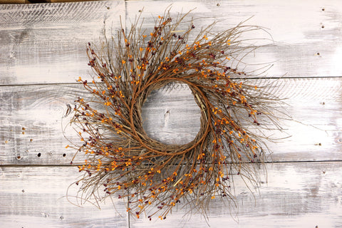 "22"" Burgundy & Gold Primitive Pip & Twig Wreath"