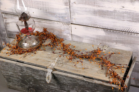 "40"" Burgundy & Gold Pip Berry & Rusty Star Garland"