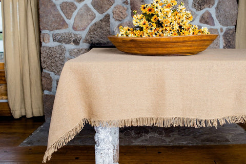 "Deluxe Burlap Natural Tan Table Cloth (60""x102"")"