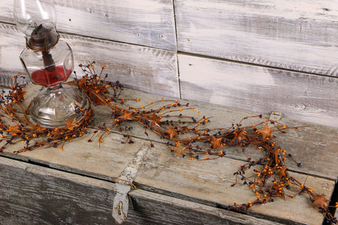 "40"" Colonial Americana Mix Pip Berry & Rusty Star Garland"