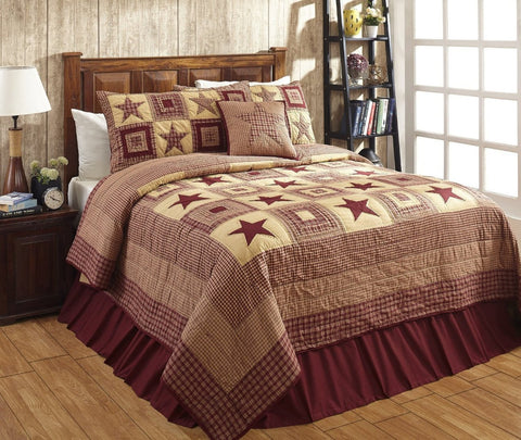 California King Colonial Star Burgundy And Tan Quilt Set - 3 Piece