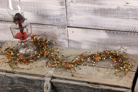"40"" Olive & Ivory Pip Berry & Rusty Star Garland"