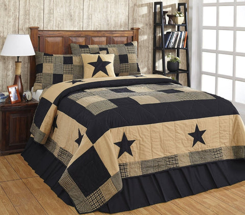 Jamestown Black and Tan Primitive Country Quilt Set - 3 Piece (Queen/Full (3 pc))